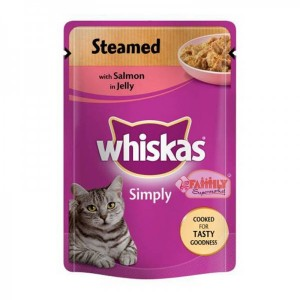 Whiskas Steamed With Salmon In Jelly 100 gm Pouch