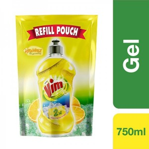 Vim Dish Wash Liquid Refill Pouch Lemon 750 ml