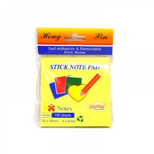 Uni Stick Note Pad Yellow  76x76mm